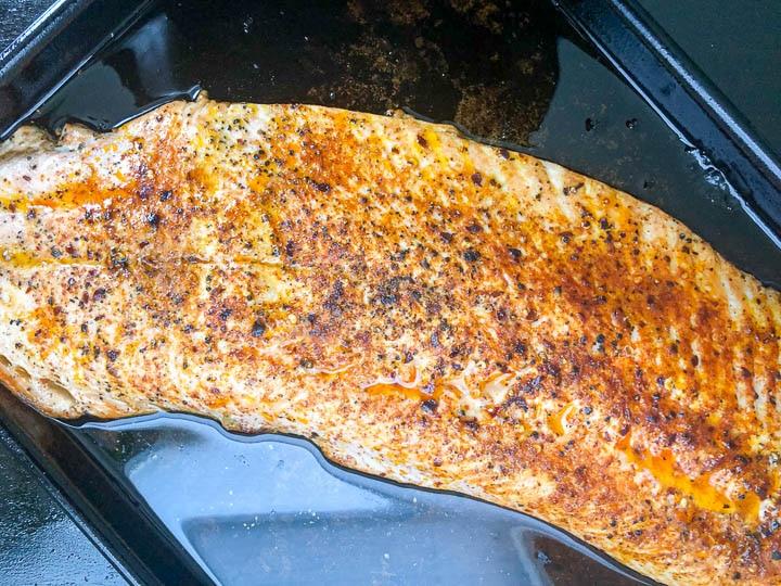 broiled salmon on quarter size baking sheet