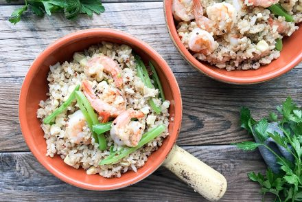 shrimp vegetable quinoa bowl