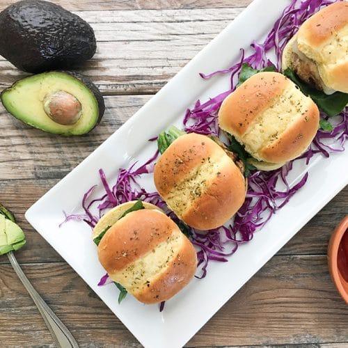 turkey burger sliders on hawaiian rolls