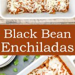 Bean Enchiladas - a quick and easy weeknight dinner. a healthy recipe that's made with black beans, store bought enchilada sauce and cheese. | cookingwithbliss.com