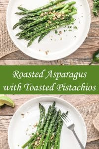 roasted asparagus with garlic served on a white plate with pistachios