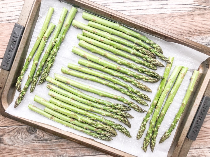 drizzle roasted asparagus with extra virgin olive oil before roasting