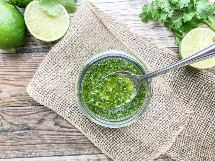 4 ingredient cilantro lime marinade with spoon