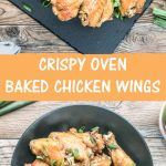 easy crispy oven baked chicken wings served in a black ceramic dish