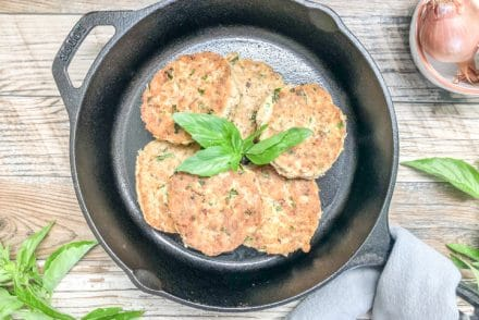 easy whole30 salmon cake in cast iron skillet