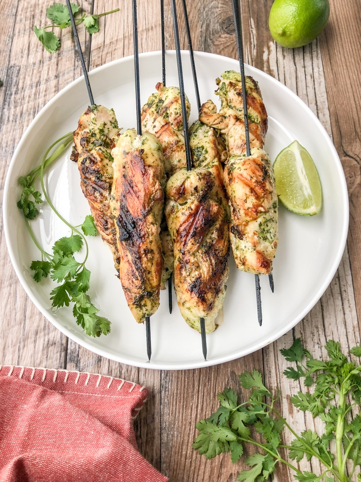 grilled cilantro lime chicken skewers internal temperature between 160-165 degrees fahrenheit