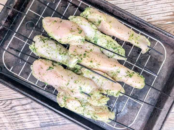 grilled cilantro lime chicken skewers coming to room temperature