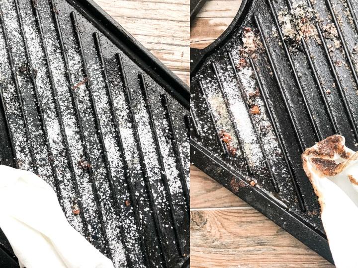 paper towel used to scrub kosher salt on cast iron grill