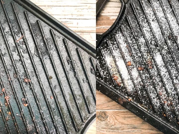 generouse amount of kosher salt sprinkeled on top of cast iron grill
