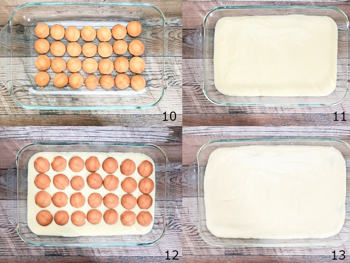 step by step photo instructions on laying the vanilla pudding with vanilla wafers