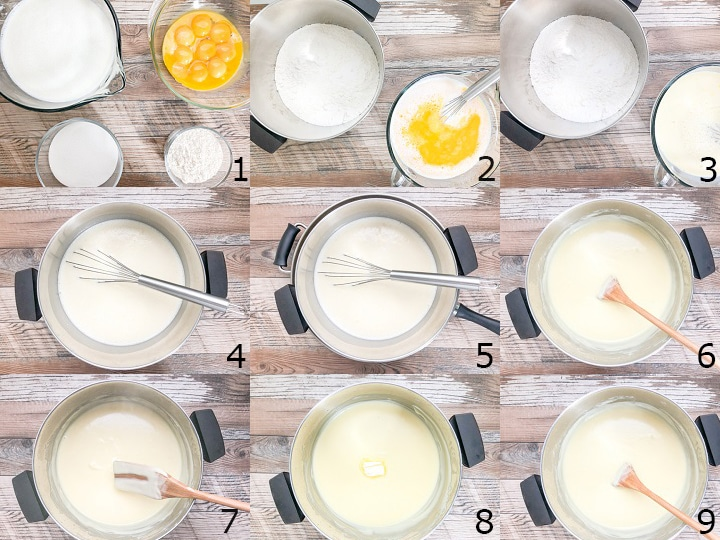 step by step photo instructions for cooking vanilla pudding on the stove top