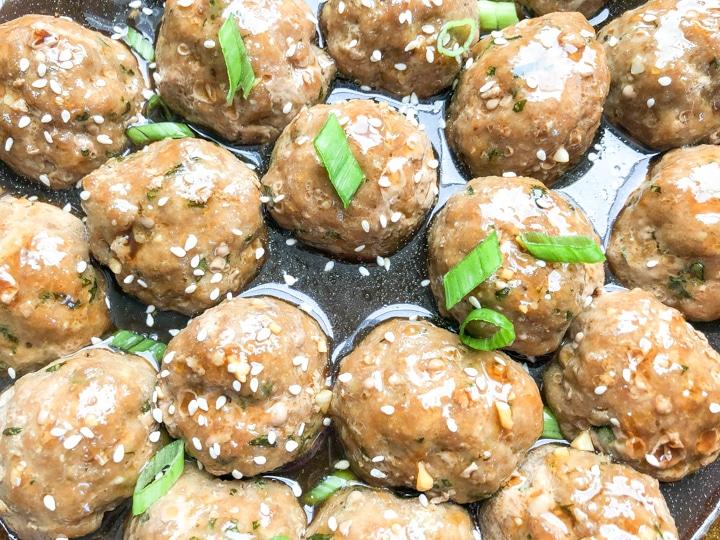 close-up shot of easy teriyaki meatballs in skillet