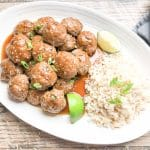 easy teriyaki meatballs on a white platter