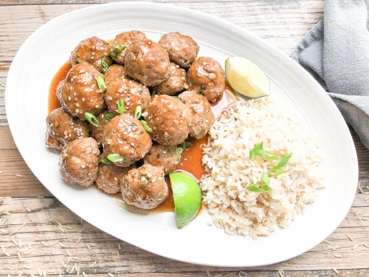 easy teriyaki meatballs on a white platter
