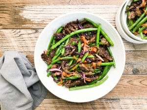 teriyaki beef stir fry on a white plate