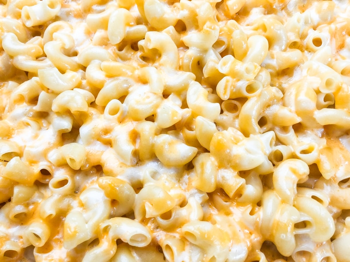 close up shot of creamy baked mac and cheese
