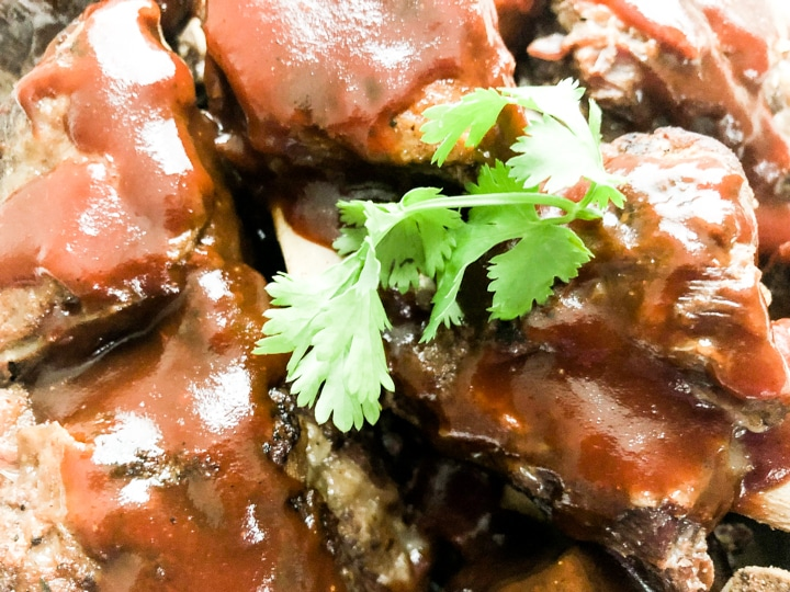 close up image of instant pot beef short ribs