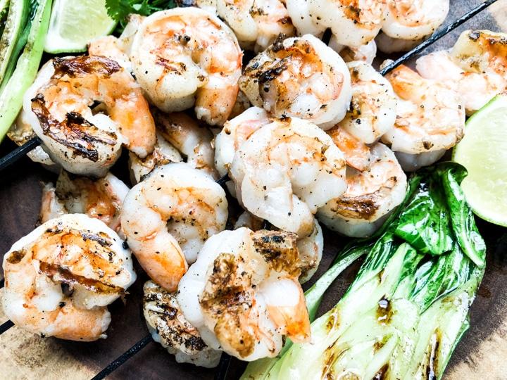 close up shot of grilled shrimp skewers