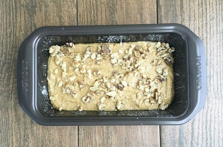 pumpkin bread batter in loaf pan