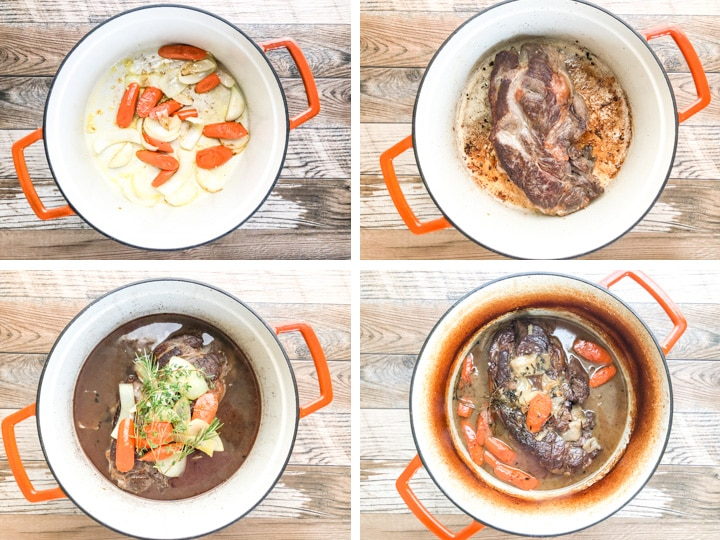 dutch oven beef stew steps with illustrations