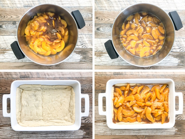 step by step illustration of old fashion peach cobbler