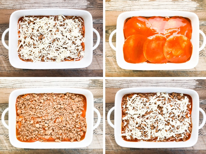 step by step illustration on laying an enchilada casserole steps 5-8