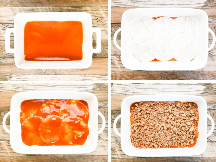 step by step on layering enchilada casserole steps 1-4