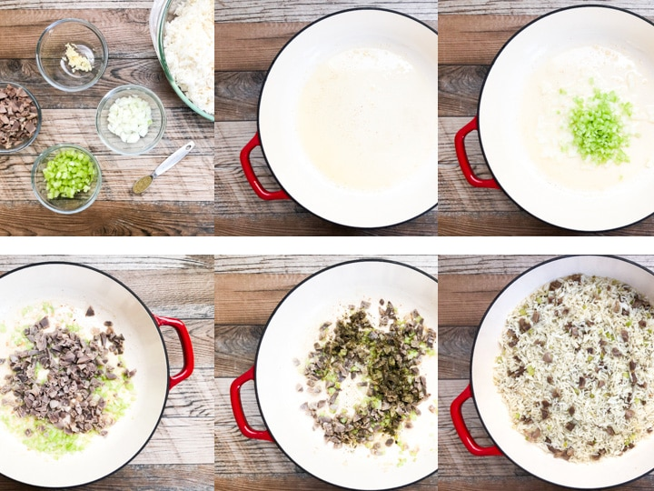 step by step illustration of rice dressing