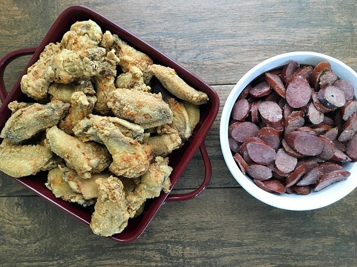 fried chicken and sausage for seafood gumbo