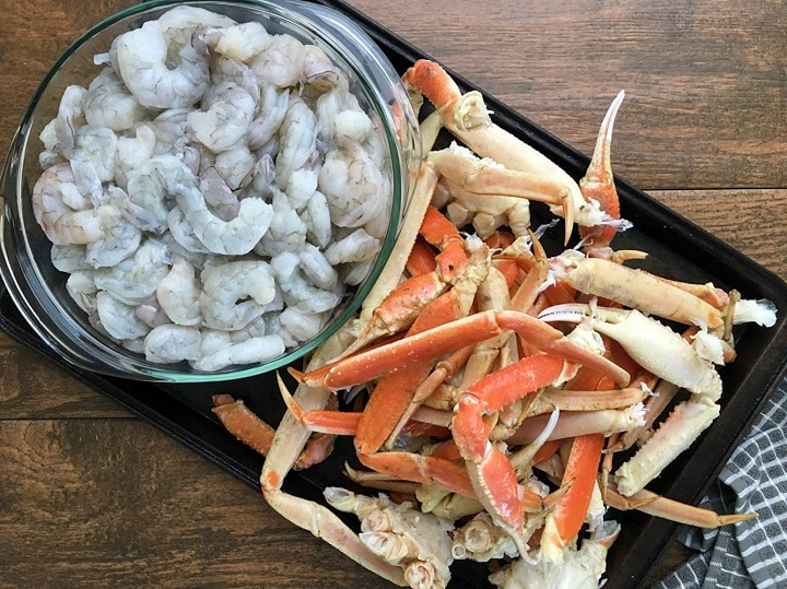 cleaned shrimp and crab for seafood gumbo