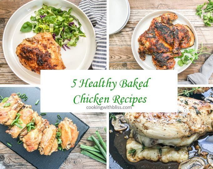 collage of 5 healthy baked chicken recipes