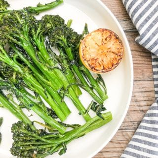 close-up shot of roasted broccolini