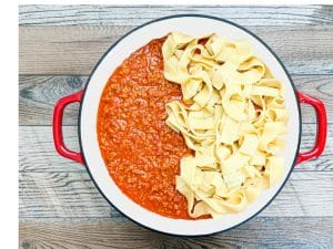 turkey bolognese with pappardelle pasta