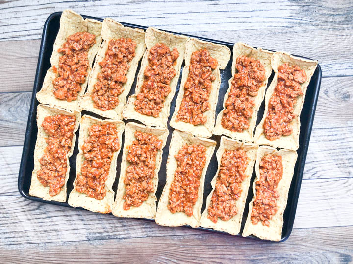 taco shells filled with turkey taco meat