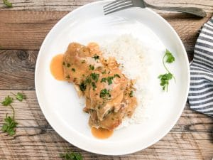 turkey wings smothered in gravy over white rice with fork
