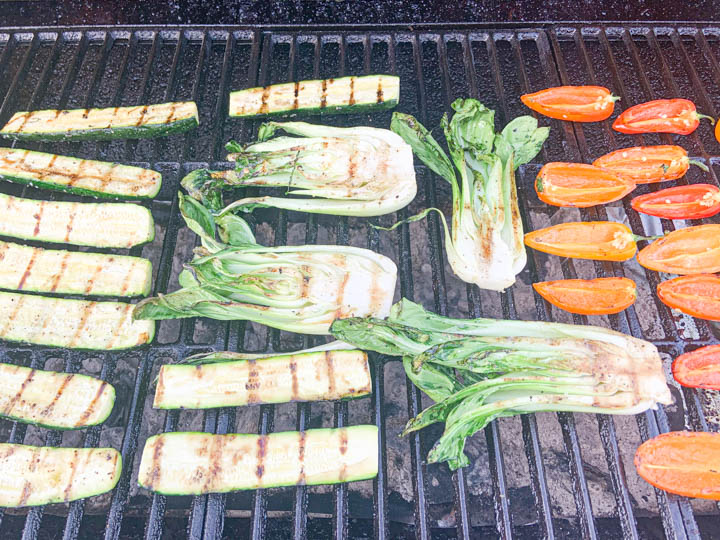 grilled vegetables on grill grates with grill marks