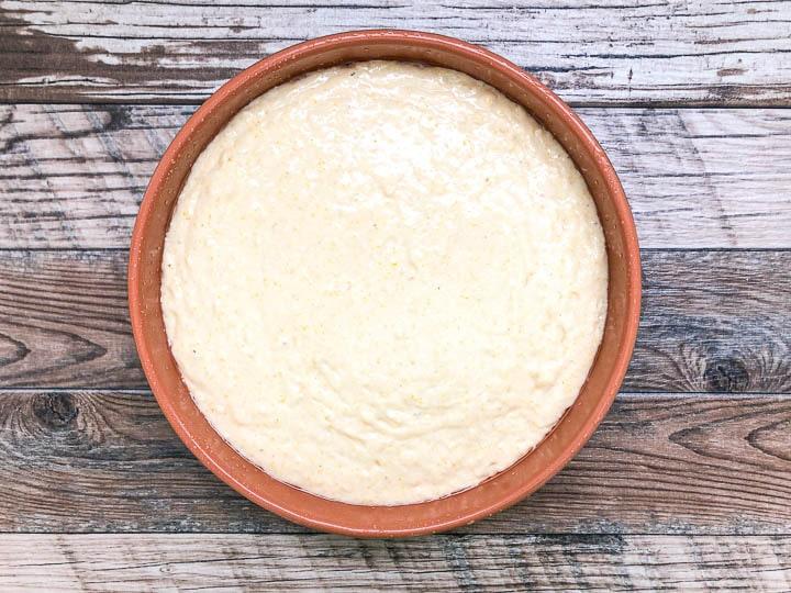 batter inside of round baking pan