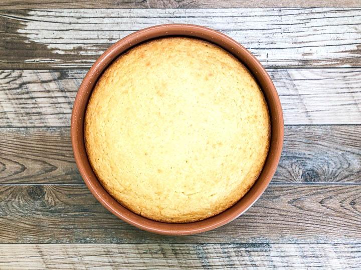 buttermilk cornbread after baking in round baking pan