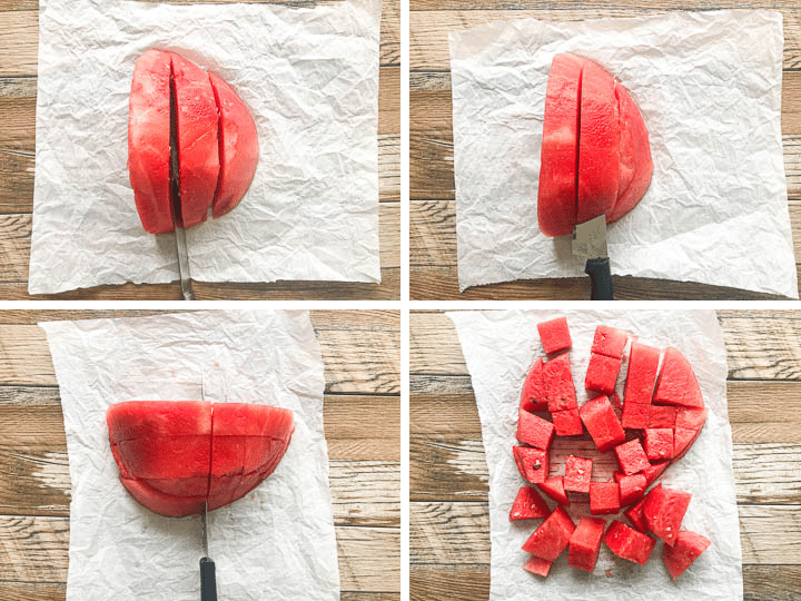step by step instruction on how to cut a watermelon into cubes