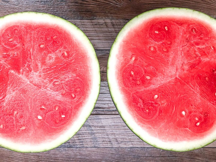 watermelon cut in half
