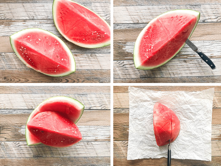 step by step images on how to cut a watermelon