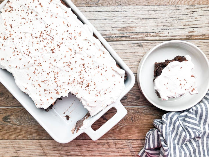 brownie trifle with slice cut out