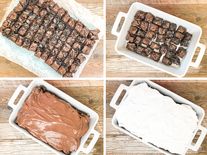 steps for assembling brownie trifle