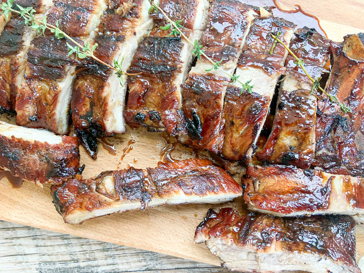 close-up image of sliced pork ribs