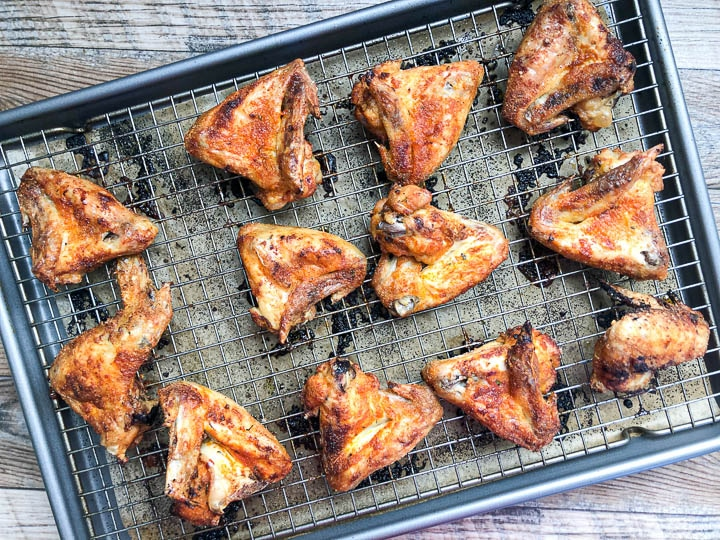 baked chicken wings on baking sheet