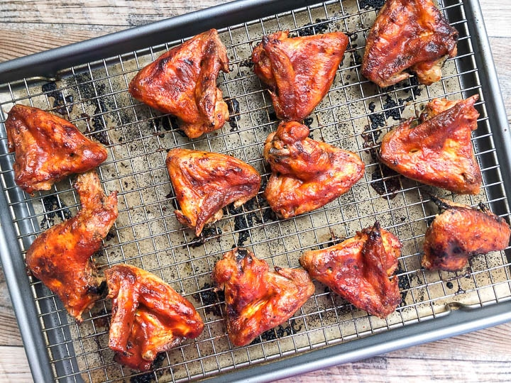 bbq chicken wings on baking sheet