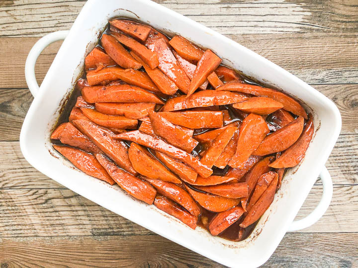 baked yam in casserole dish on counter top