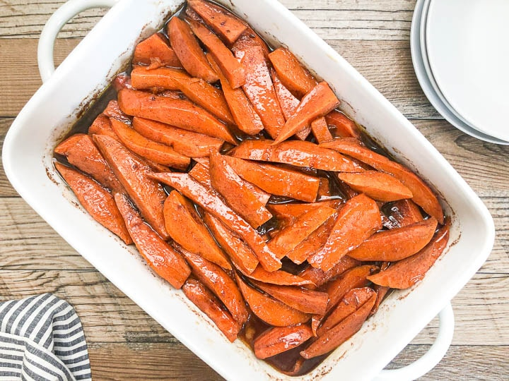 over head shot of baked yams in casserole dish