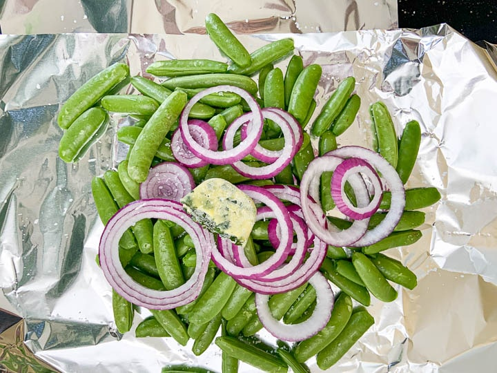 snap peas placed in foil packet
