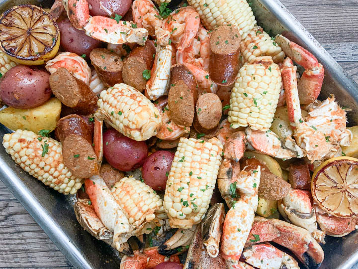 close up of cajun seafood boil